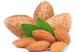 almonds in their skins and peeled
