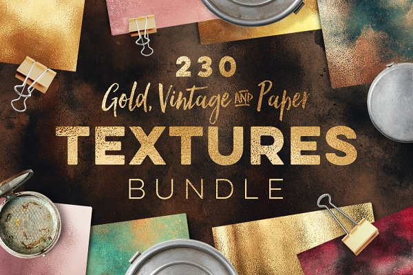 230 Gold, Vintage and Paper Texture…