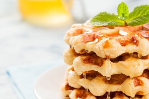 Belgian waffles with honey and mint