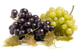bunch of green and blue grape with