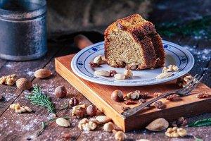 Piece of homemade sponge cake of nut
