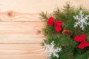 decorated Christmas fir branch on a