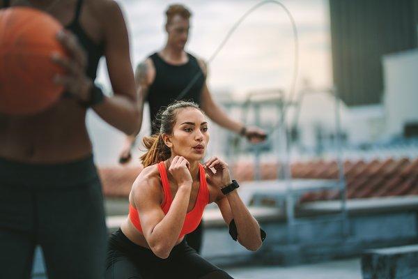 Fitness man and women training
