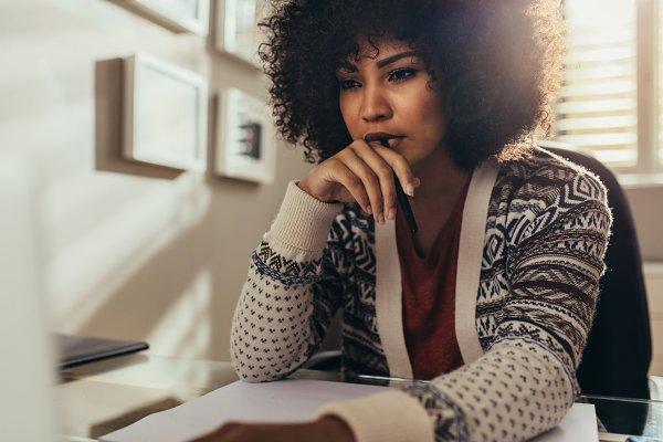 Female architect thinking