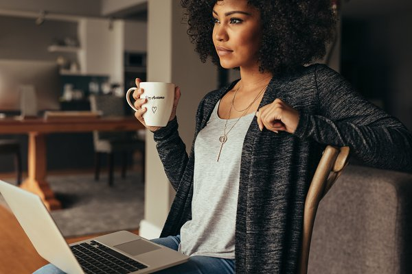 Thoughtful female having coffee