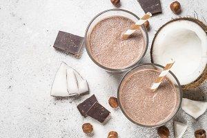 Chocolate coconut hazelnut milkshake