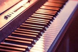 piano keys close-up