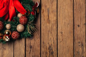 Advent Christmas wreath on wooden do