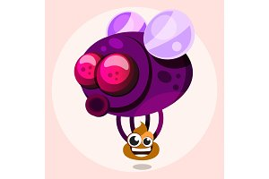 Fly with poop in cartoon style