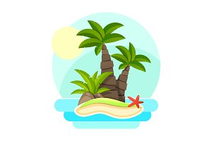 Tropical island with palm trees and