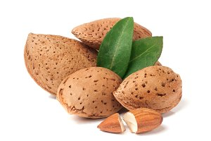 heap of almonds in their skins and