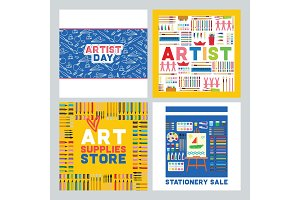 Art supplies vector studying in art