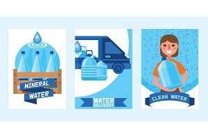 Water bottle vector man woman
