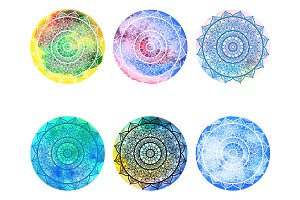 Watercolor circles with mandala