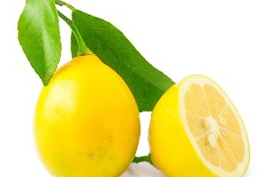 Fresh lemon isolated on white