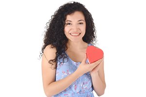 beautiful latin woman, holding red p