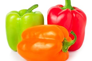 Sweet bell pepper isolated on white