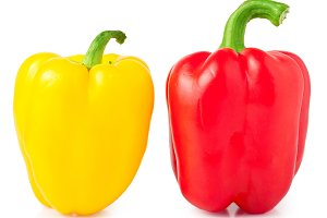 Red and yellow sweet pepper isolated