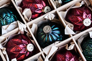 Christmas Balls In A Paper Box
