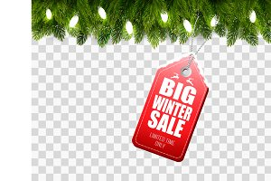 Winter Sale Tag with Christmas tree