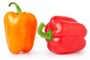 Bell peppers isolated on white