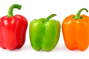 red, green and orange bell peppers