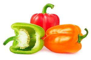 bell peppers with half isolated on