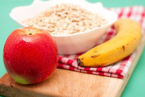 apple and banana with oat flakes