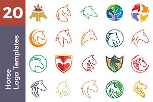 20 Logo Horse Templates Bundle