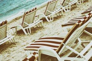 Deck chairs, sea, beach