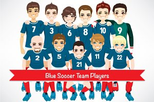 Blue Soccer Team Players