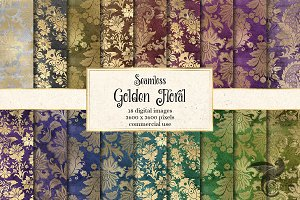 Golden Floral Digital Paper