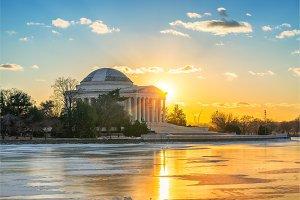 Jefferson Memorial at winter sunset