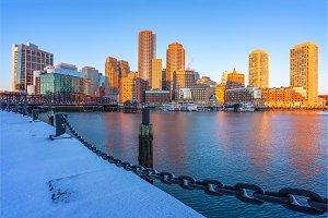Boston downtown at sunrise