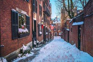 Boston old narrow street at winter