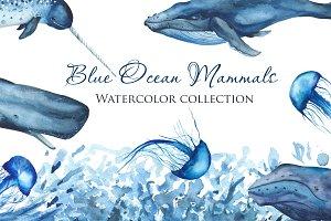 Blue Ocean Mammals. Watercolor.