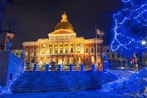 Boston state house illuminated at