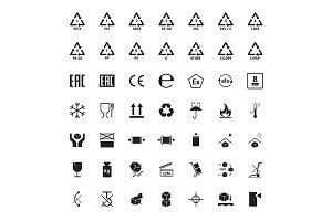 Cartoon Packaging Symbols Set.