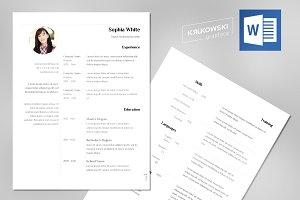 White Resume / CV Template MS Word
