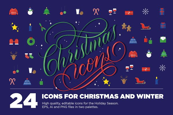 Icons: Hazel K Letters - 24 Christmas Icons