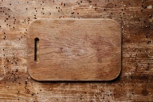 top view of cutting board on wooden