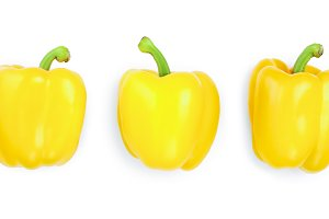 yellow sweet bell pepper isolated on