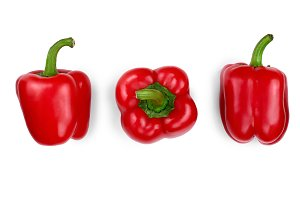 red sweet bell pepper isolated on