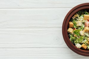 top view of traditional caesar salad
