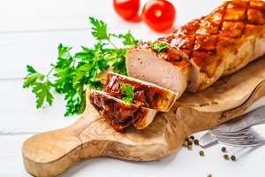 Baked meatloaf with sauce