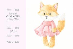 Little fox - pencils illustration