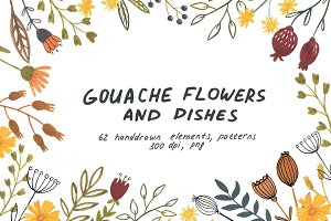 Gouache Flowers and Dishes