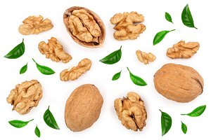 Walnuts with leaf isolated on white