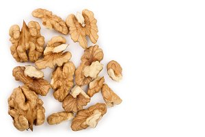 peelled Walnuts isolated on white