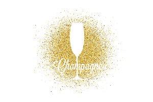 Champagne glass on golden glitter.